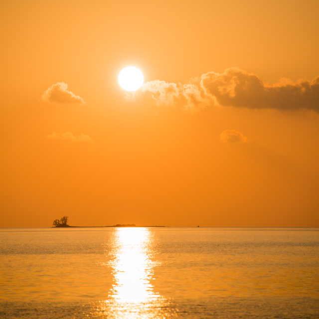 """golden sunset in maldives"" stock image"