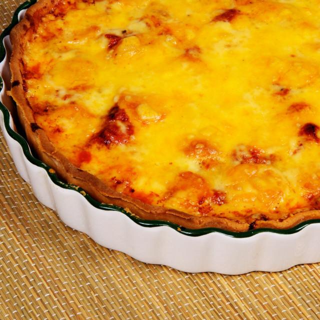 """""""Smoked Mozzarella and sun dried tomato tart."""" stock image"""