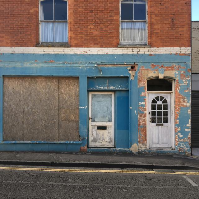 """Derelict shop front"" stock image"
