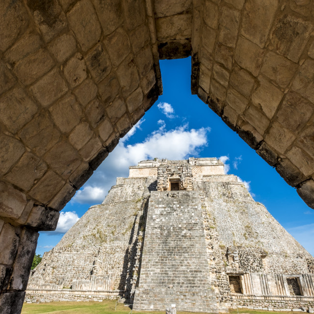"""The Pyramid of the Magician (Pirámide del Mago) towering in the Maya City of Uxmal, Mexico"" stock image"