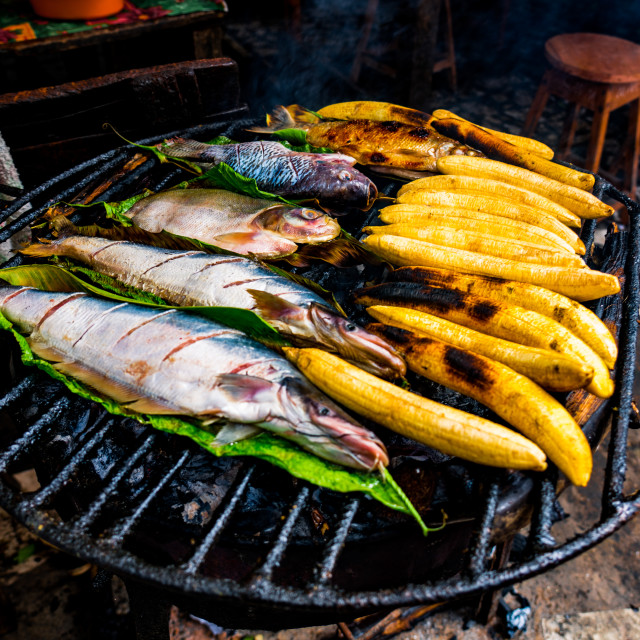 """Typical Amazonian lunch made on the grill, with fish and bananas"" stock image"