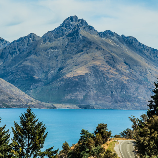 """The Remarkables and Lake Wakatipu, Queenstown, New Zealand"" stock image"