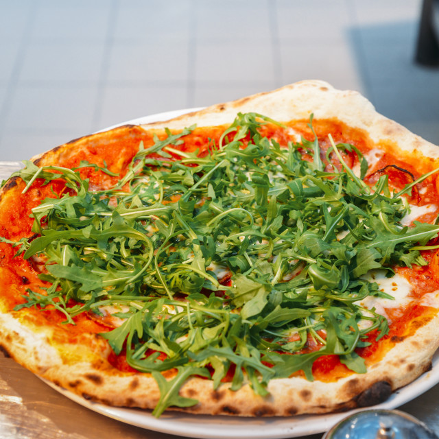 """""""Home made Vegetarian pizza with arugula"""" stock image"""