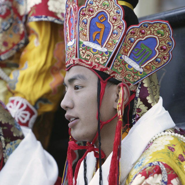 """Buddhist teacher, Bhutan"" stock image"