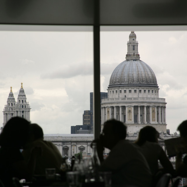 """""""Cafe at the Tate Museum, London"""" stock image"""