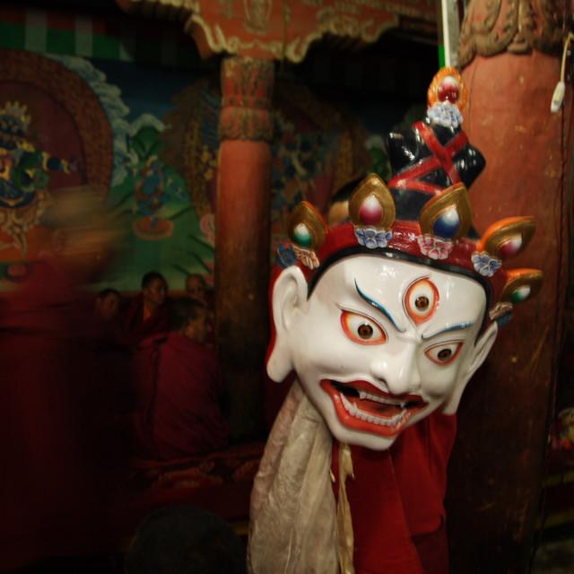 """""""Masked monk, Hemis Festival, Ladakh"""" stock image"""