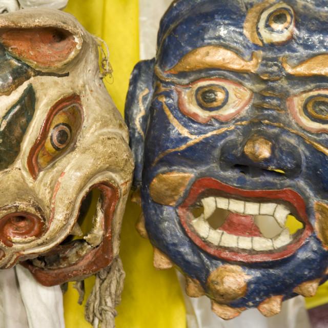 """Tibetan dance masks, Ladakh"" stock image"