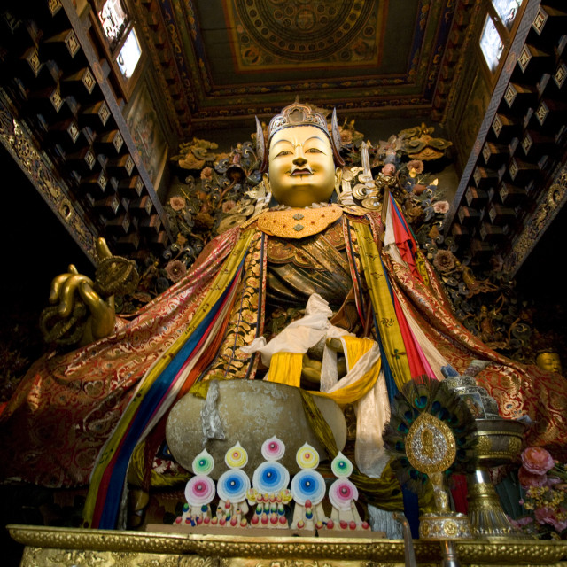 """Giant Guru Rinpoche statue, Mongar Dzong, Bhutan Bhutan"" stock image"