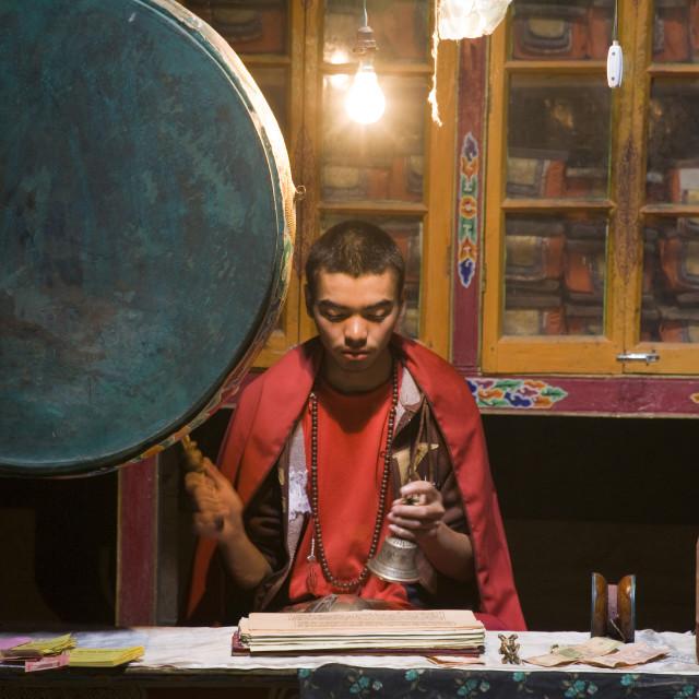 """""""Monk practicing Sadhana, Ladakh, India"""" stock image"""