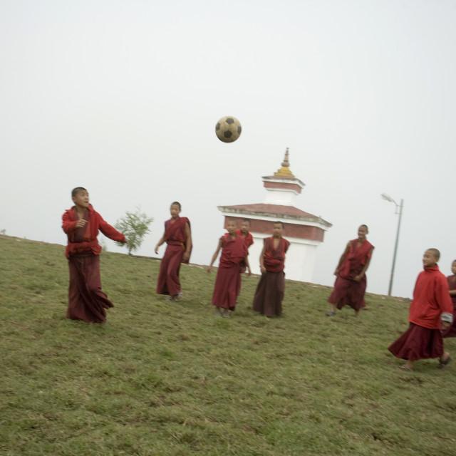 """Monks playing soccer, Bhutan"" stock image"