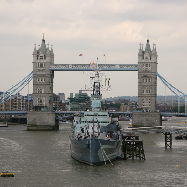 """""""Ship in front of Tower Bridge, London"""" stock image"""