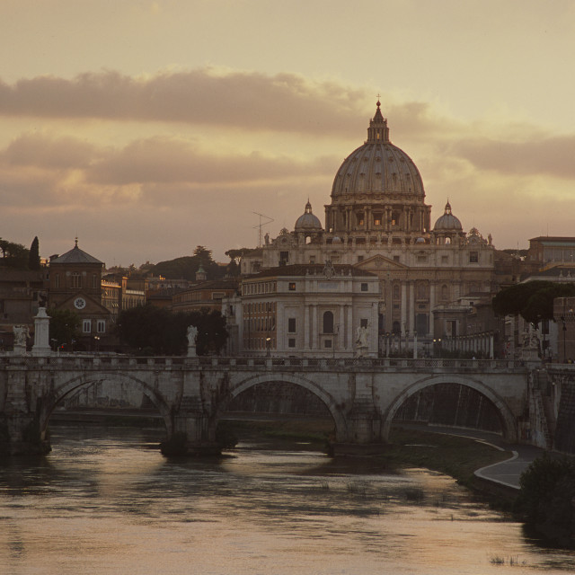 """St Peter's Basilica from Tiber River, Rome, Italy-66516"" stock image"