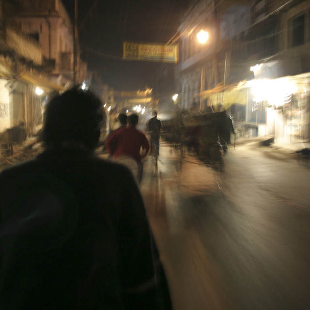"""Street at night, Varanasi-69668"" stock image"