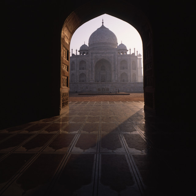 """Taj through gateway"" stock image"