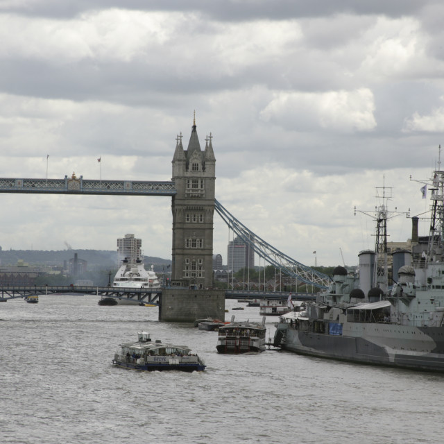 """Tower bridge on Thames"" stock image"