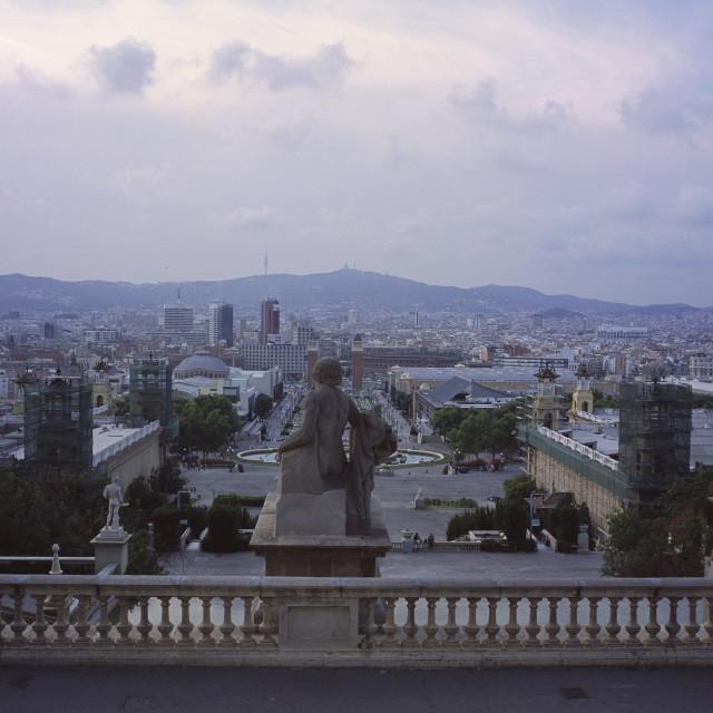 """Twilight view of Barcelona, Spain"" stock image"