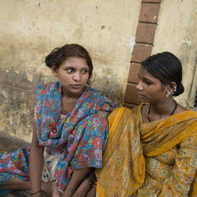 """Two girls, Old Delhi, India_G3T7376"" stock image"