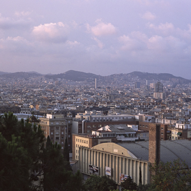 """View from Hillside, Barcelona, Spain"" stock image"