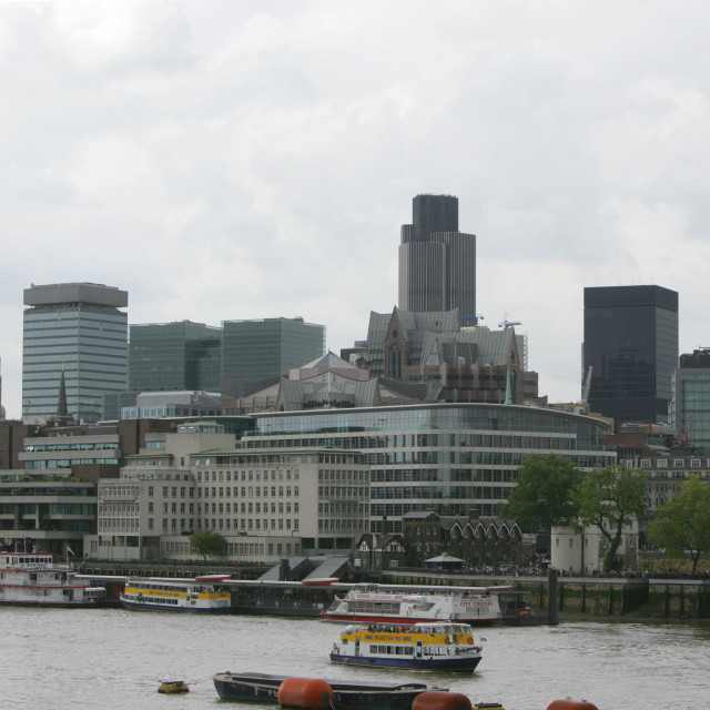"""View of London from Thames, London"" stock image"