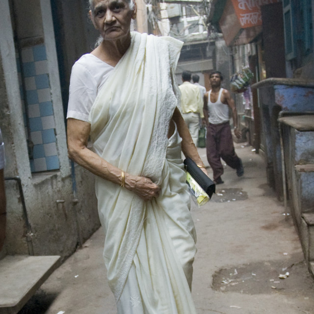 """Woman in white, Old Delhi, India_G3T7354"" stock image"