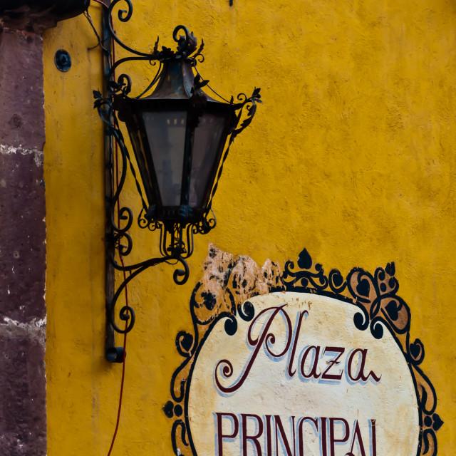 """""""Plaza Principal Sign in San Miguel de Allende"""" stock image"""
