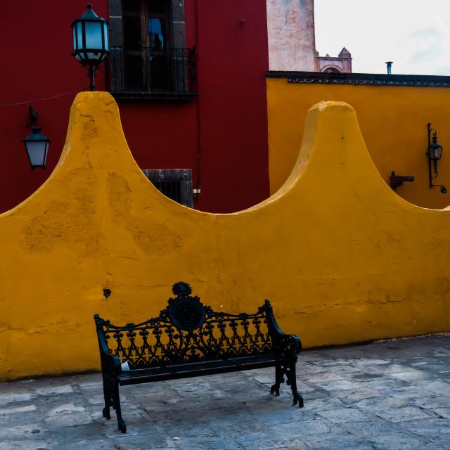 """Wrought Iron Bench in San Miguel de Allende, Mexico"" stock image"