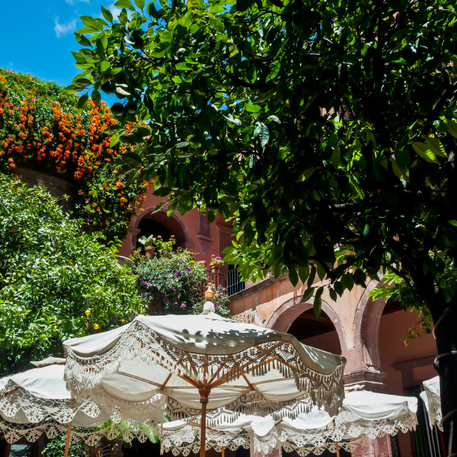 """Restaurant Patio in San Miguel de Allende"" stock image"
