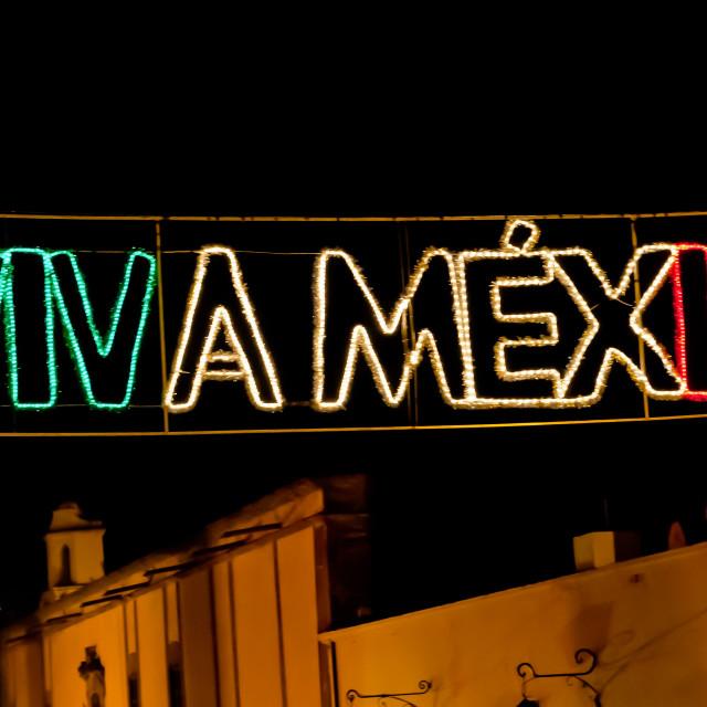 """Viva Mexico in Lights"" stock image"