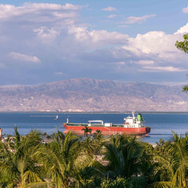 """The bay of Port au Prince Hait"" stock image"