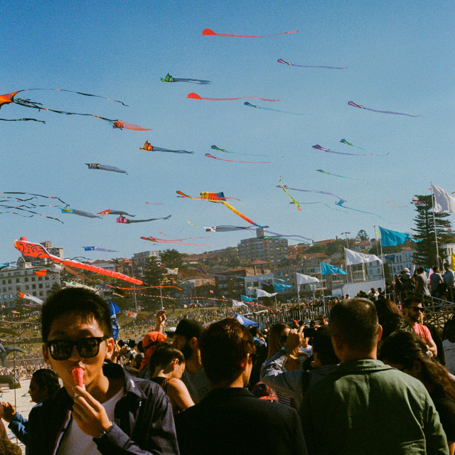"""Kites flying at the Bondi Kite Festival 2017."" stock image"