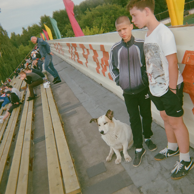 """""""Rural Russian Football Fans"""" stock image"""