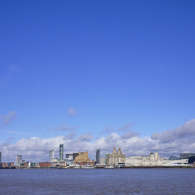 """""""Liverpool skyline with lots of blue sky"""" stock image"""