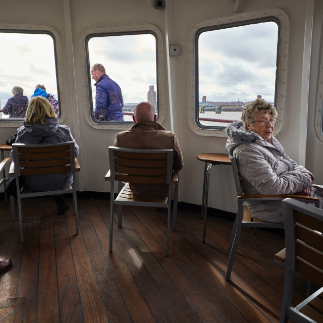 """""""The interior of the front lounge on Mersey Ferry"""" stock image"""