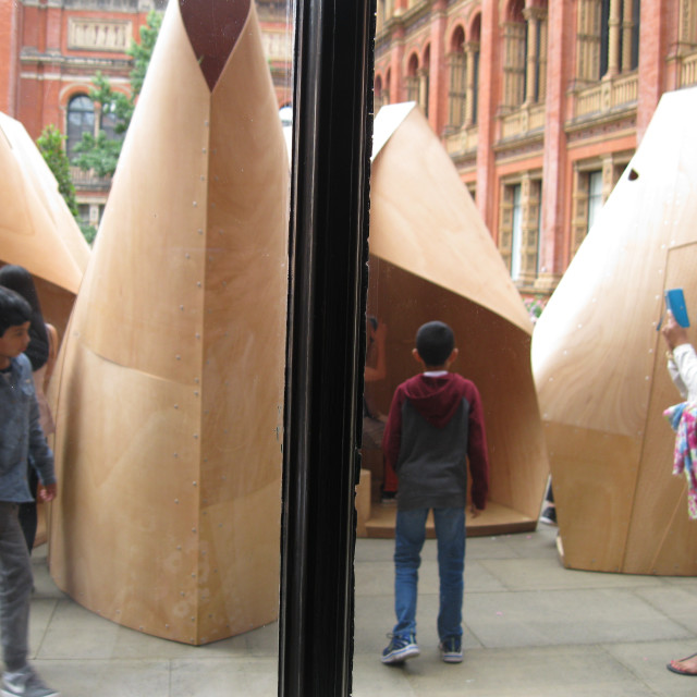 """""""Sculpture inside courtyard of V&A museum, London"""" stock image"""