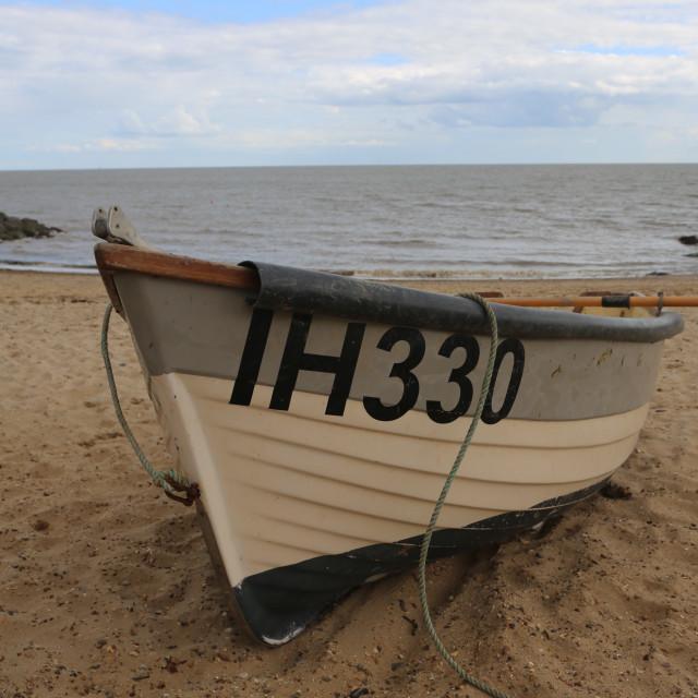 """""""Boat on beach in U.K."""" stock image"""