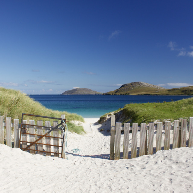 """Vatersay Beach, Isle of Barra. The Western Isles of Scotland."" stock image"