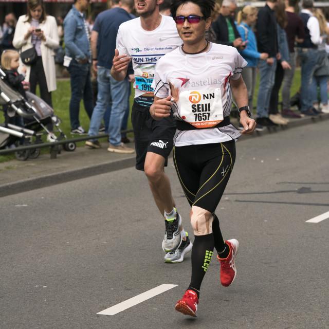 """""""Marathon runners running"""" stock image"""