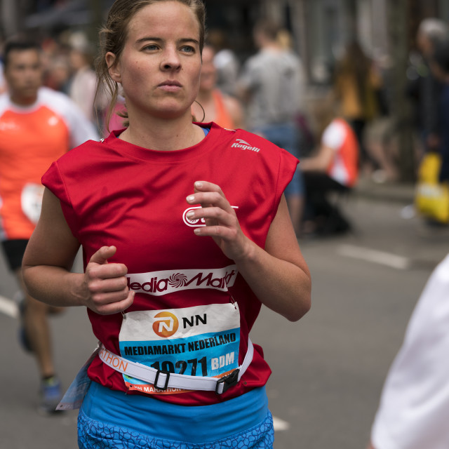 """Runner in red and blue"" stock image"