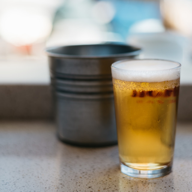 """Close up of cold glass of beer"" stock image"