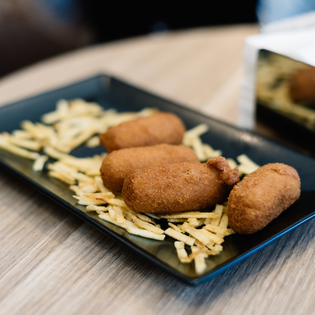 """Close up of croquettes with potatoes"" stock image"