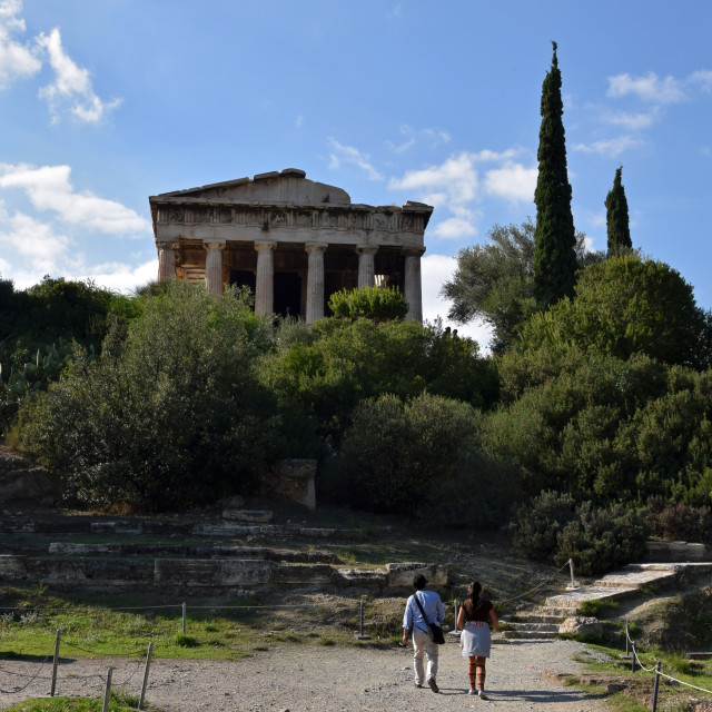 """""""people visiting the temple of hephaestus"""" stock image"""