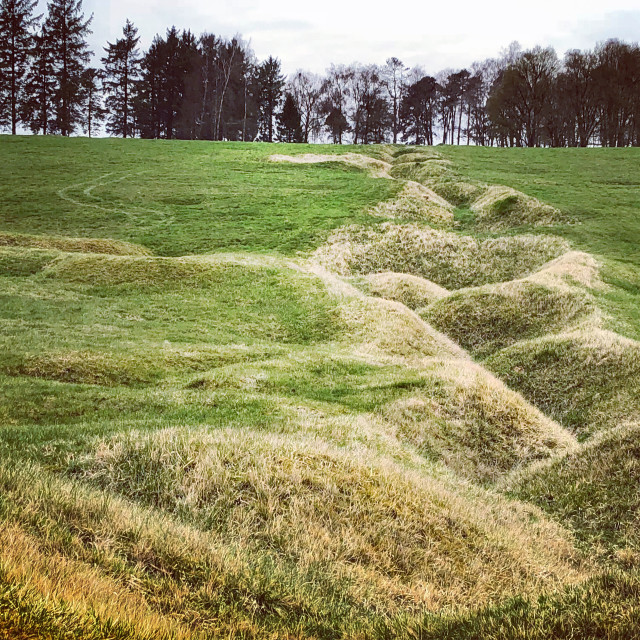 """Preserved WW1 trenches at Beaumont-Hamel Newfoundland (Canadian) Memorial"" stock image"