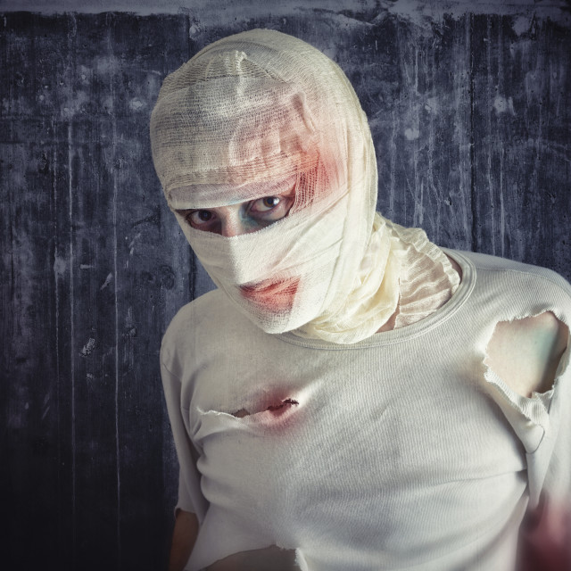 """Injured man with head bandages"" stock image"