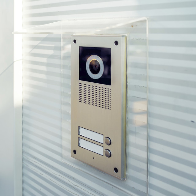 """Video intercom device on building exterior"" stock image"