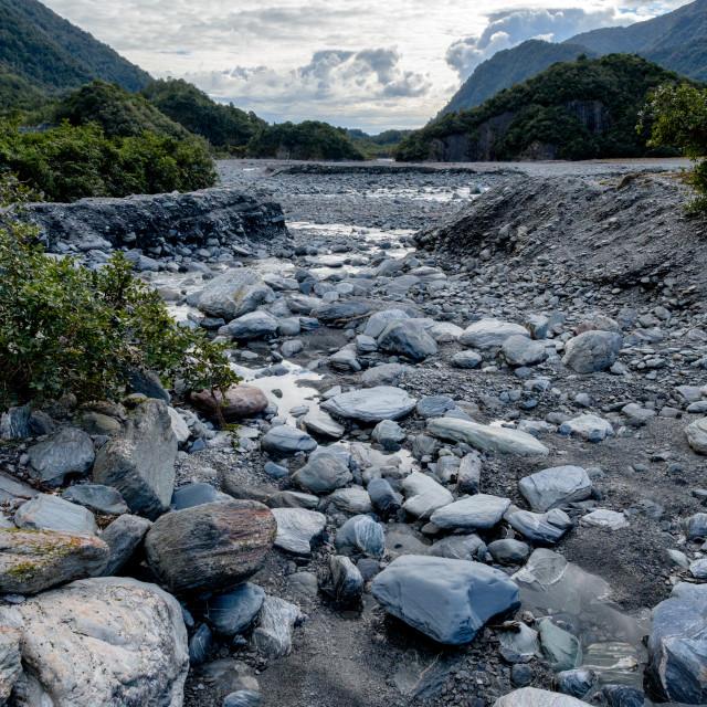 """Franz Josef Glacier Walk – River View"" stock image"