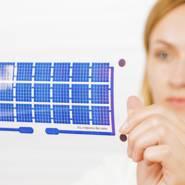 """""""Solar cell printed on flexible film"""" stock image"""