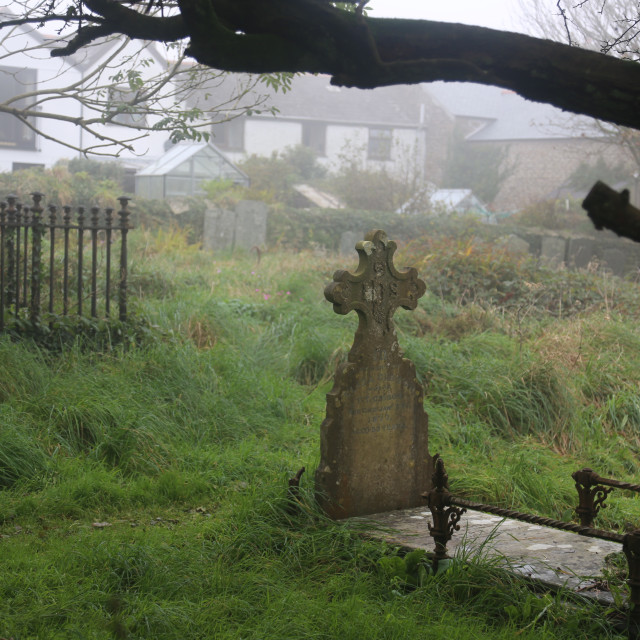 """Graveyard in Cornwall"" stock image"