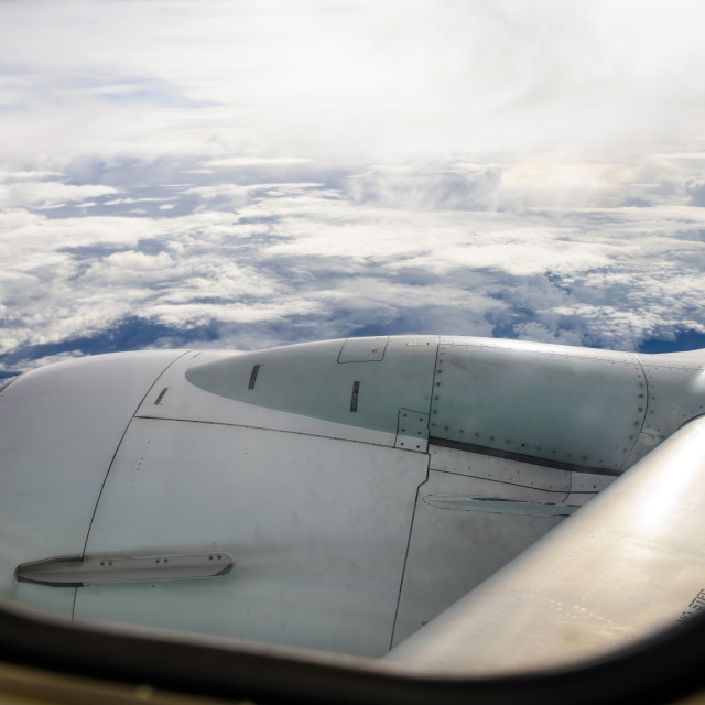 """cloudscape view from airplane window"" stock image"