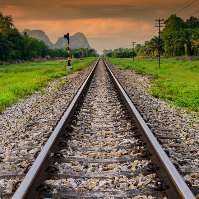 """Train Railway in natural background at dawn"" stock image"