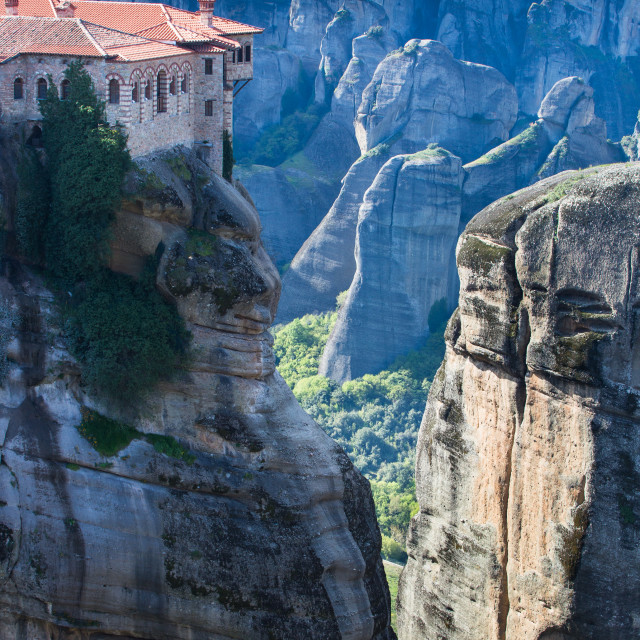 """Portrait view of Moni Varlaam in Meteora"" stock image"